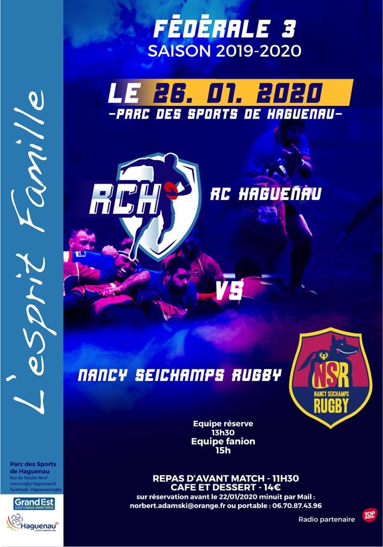 Rugby Championnat de Fédérale 3 - Rugby Club de Haguenau / Nancy Seichamps Rugby