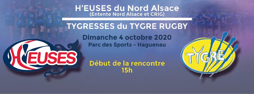 Le Rugby Féminin à l'honneur ! Les H'euses du Nord Alsace reçoivent Les Tygresses du Tygre Rugby